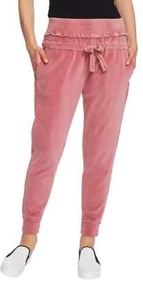 1 STATE 1.STATE Raw Hem Velour Jogger Pants