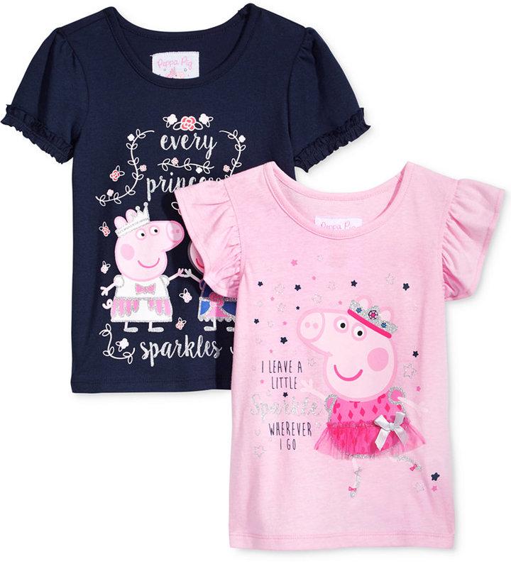 Nickelodeon Nickelodeon's Peppa Pig 2-Pc. Sparkle T-Shirt Set, Little Girls (4-6X)