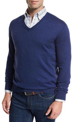 Peter Millar Crown Cotton/Silk V-Neck Sweater $135 thestylecure.com