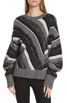 Helmut Lang Wool Blend Ombre Stripe Sweater