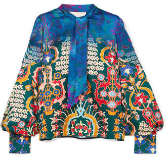 Peter Pilotto Pussy-bow Printed Hammered Stretch-silk Blouse - Blue