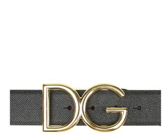 Dolce & Gabbana Black Leather Belt And Buckle With Logo