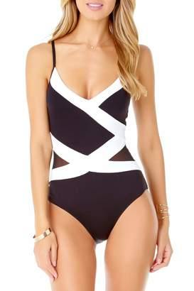 Anne Cole Women's Mesh Spliced Over The Shoulder Sexy One Piece Swimsuit, Color Block Black/White