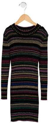 Milly Minis Girls' Metallic Striped Rib Knit Dress w/ Tags