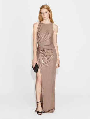 Halston Ruched Front Metallic Jersey Gown