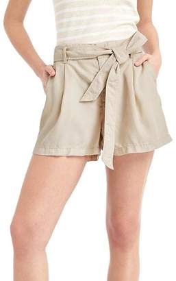 TENCEL linen paper bag high rise shorts $44.95 thestylecure.com