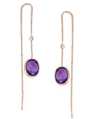 Effy Viola 14K Rose Gold Amethyst and 0.03K Diamond Threader Earrings
