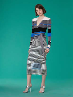 Diane von Furstenberg Long-Sleeve Cropped Wrap Sweater