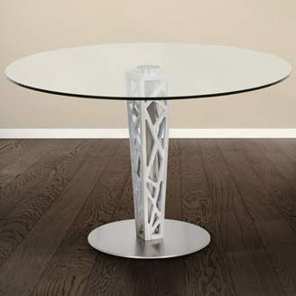 """Armen Living Crystal Round Dining Table in Brushed Stainless Steel finish with Gray Walnut Veneer Column and 48"""" Glass Top"""