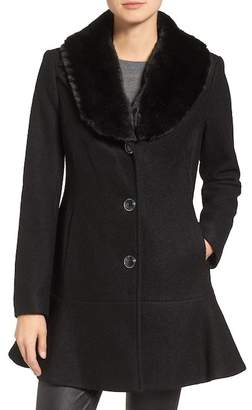 Kensie SKIRTED COAT REMOVABLE FF CLR