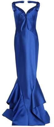 Zac Posen Bow-Detailed Ruffled Duchesse Silk-Satin Gown