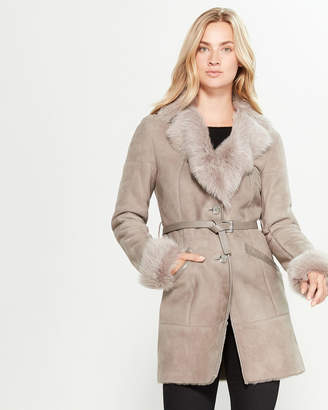 Intuition Paris Grey Real Fur-Trimmed Belted Suede Coat