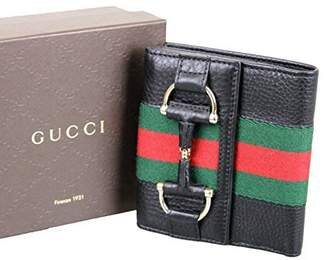 Gucci Women's Black Web Detail Trifold French Leather Wallet 245751