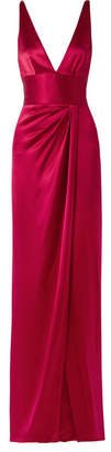 Naeem Khan Wrap-effect Silk-satin Gown - Red