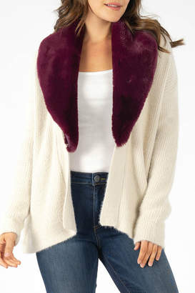 KUT from the Kloth Fredrica Burgundy Fur Collar Cardi