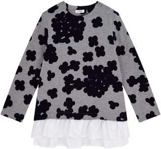 Il Gufo Printed Ruffle Hem Sweater Dress