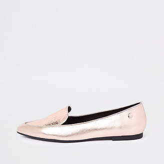 River Island Gold pointed toe croc flat shoes