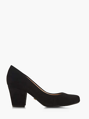 6561dc5aa8 Dune Anthena Block Heel Court Shoes, Black Suede