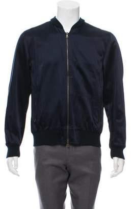 Dries Van Noten Satin Bomber Jacket blue Satin Bomber Jacket