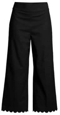 Rebecca Taylor Women's Scalloped Cropped Pants - Black - Size 4