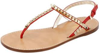 Valentino Rockstud Flat T-Strap Thong Sandals - Platino Hardware