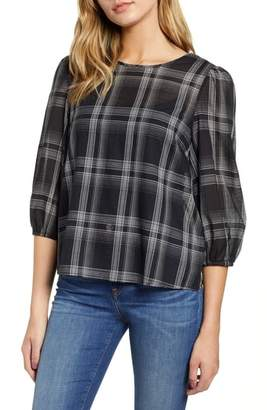 1 STATE 1.STATE Capital Plaid Shirred Top
