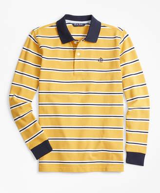 Brooks Brothers Boys Cotton Long-Sleeve Stripe Polo Shirt