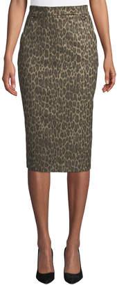 Leopard-Print Midi Knee-Length Skirt