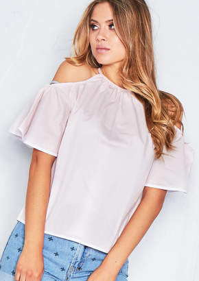 bc8d8155b98a23 Missy Empire Missyempire Montana Pink Cold Shoulder Bell Sleeve Top