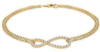 Goldhimmel Women 925 Sterling Silver Gold Plated Infinity Swarovski Crystals Bracelet of 18cm 0212341514