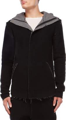 Primordial Is Primitive Wool Raw Edge Hooded Coat