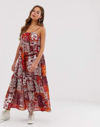 Neon Rose tiered maxi cami dress with tie shoulders in patchwork print
