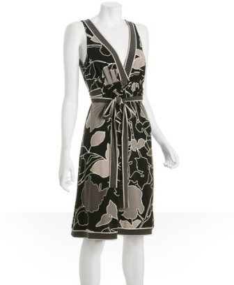 BCBGMAXAZRIA pewter graphic floral jersey belted dress