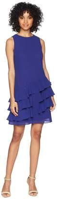 Vince Camuto Sleeveless Shift Dress with Ruffle Details Women's Dress