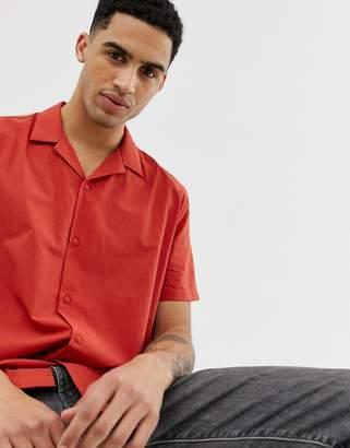 Asos Design DESIGN regular fit cotton shirt in rust with revere collar