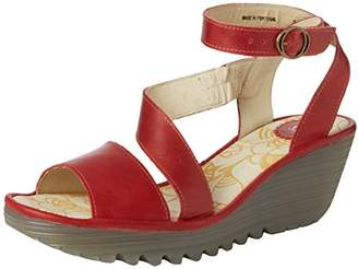 10383ed1ef23 Fly London Yesk Women s Ankle Strap Wedge Sandals - Red (Red)