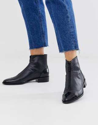 Stradivarius STR snake embossed zip front flat boot in black