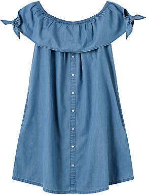 John Lewis Girls' Button Through Denim Dress, Blue