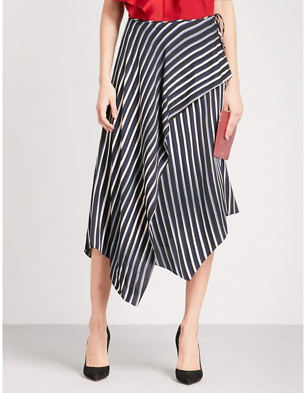 Asymmetric striped stretch-silk midi skirt