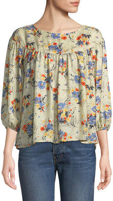 The Great The Duskfall Silk Floral-Print Top