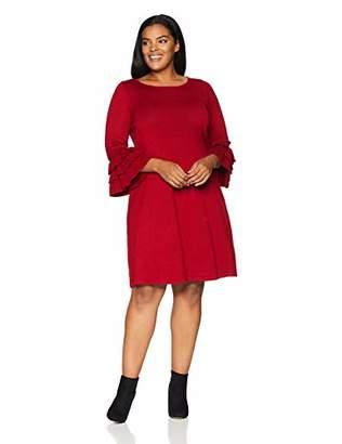 c03130b434c Gabby Skye Women s Plus Size 3 4 Tier Sleeve Round Neck Sweater A-Line