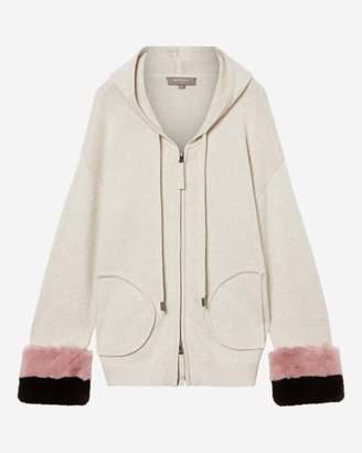 N.Peal Hooded Fur Cuff Cardigan