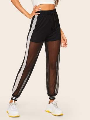 Shein Contrast Side Seam 2 in 1 Mesh Sweatpants