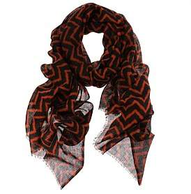 D Lux Harlow Zig Zag Print Wool/Silk Scarf