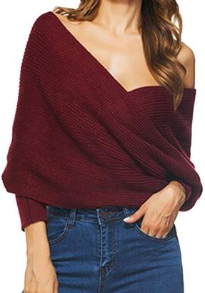 a91a9f928fab7 Domple Womens Sexy Off Shoulder Wrap Tops Jumper Knit Pullover Sweaters OS