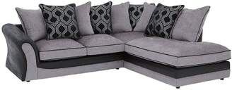 Milan Faux Leather And Fabric Right Hand Corner Chaise Scatter Back Sofa