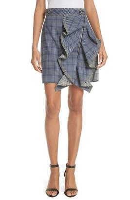 Self-Portrait Ruffle Detail Plaid Skirt