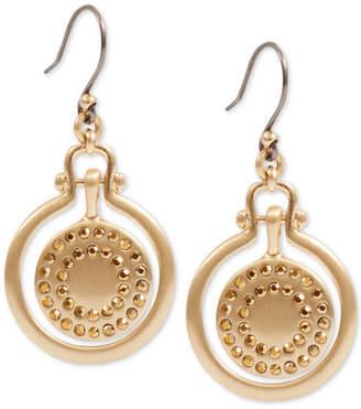 Lucky Brand Gold-Tone Pave Orbital Drop Earrings