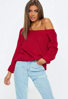 Missguided Raspberry Off Shoulder Knit Sweater