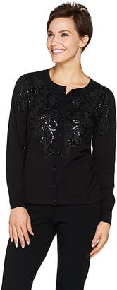 Bob Mackie Bob Mackie's Soutache and Sequin Sweater Knit Cardigan